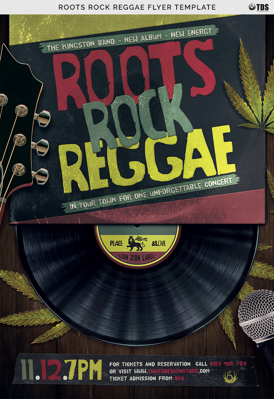 Roots Rock Reggae Flyer Template example image 2