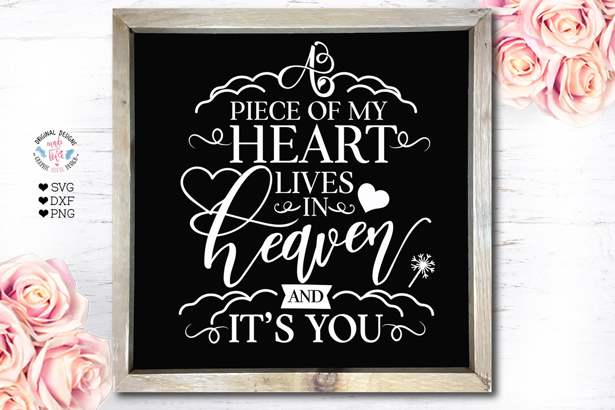 Piece of My Heart lives in Heaven Memorial Cut File example image 2