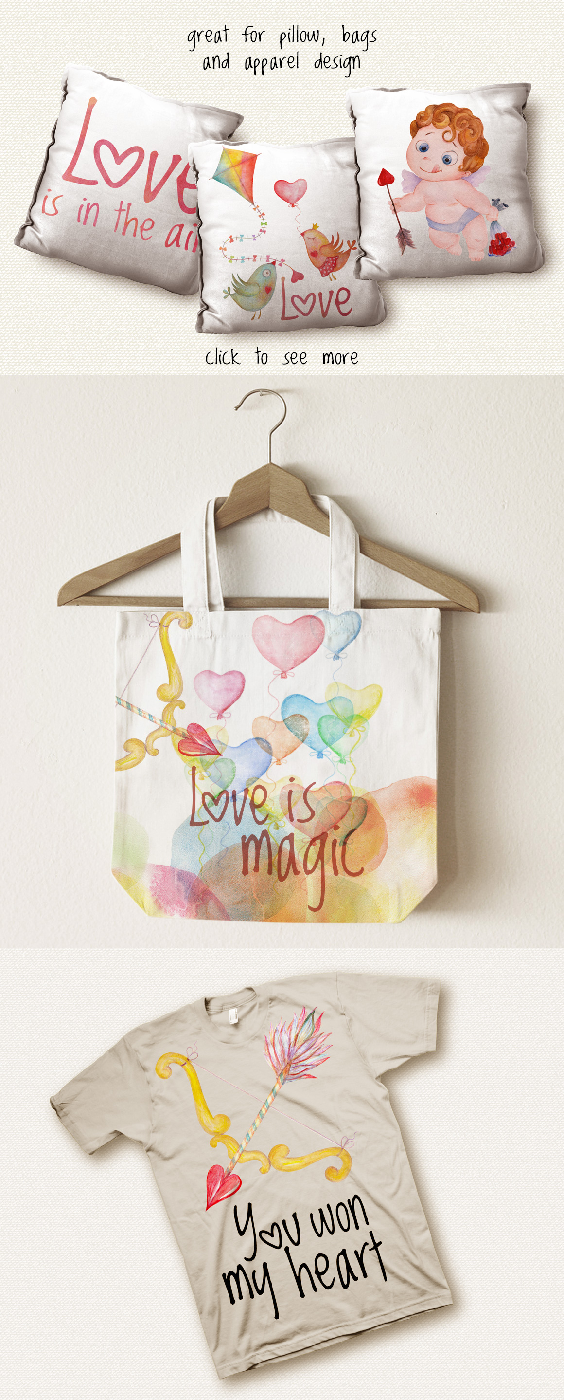 Romantic watercolor set. Love is in the air example image 9