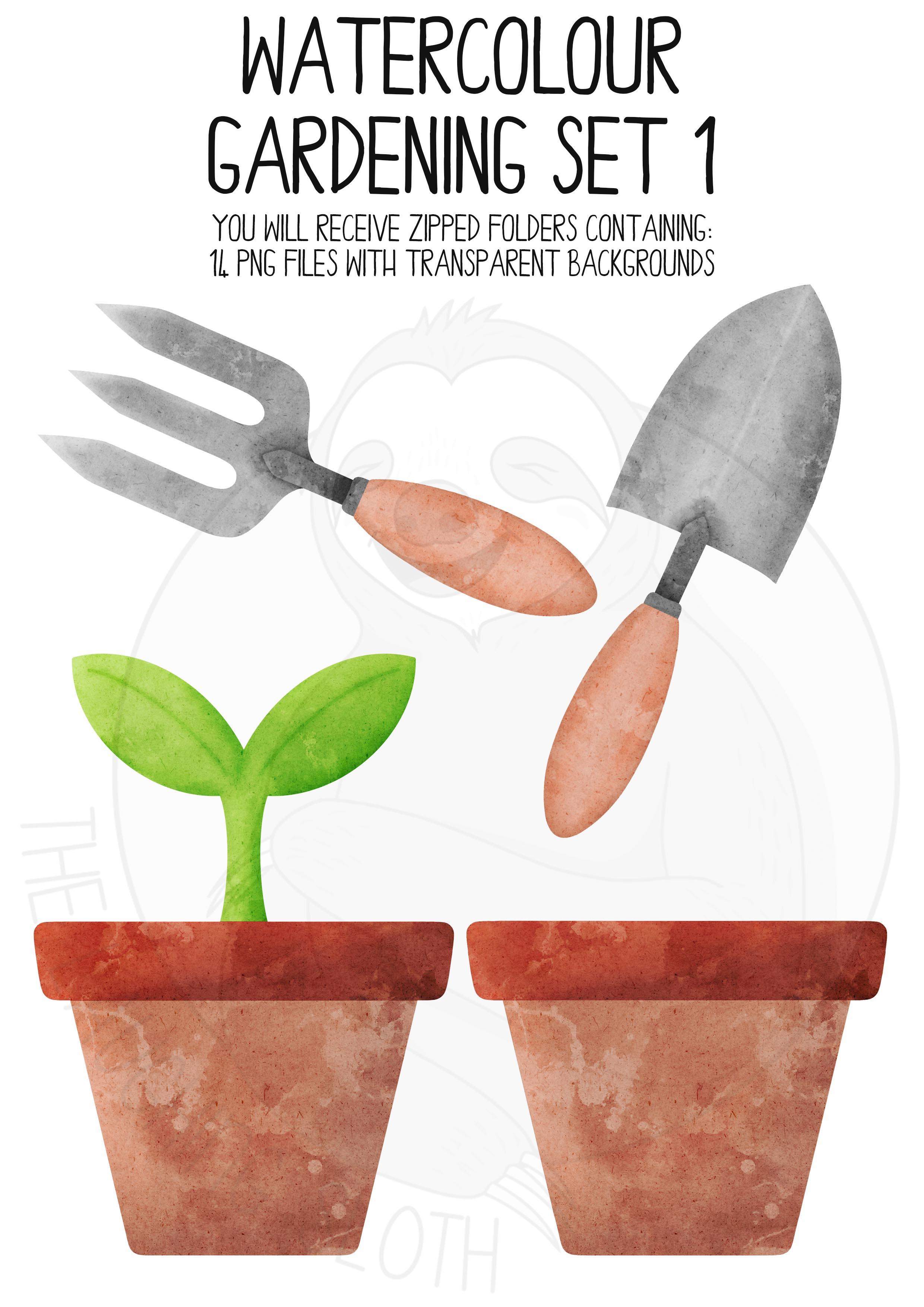 Watercolor Gardening Clip Art Set example image 2