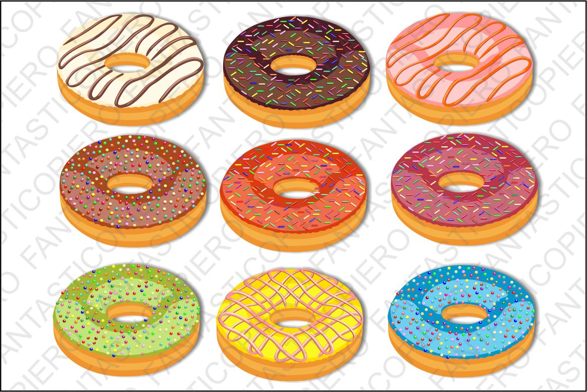Donuts Clip Art Doughnuts clipart JPG files and PNG files. example image 1