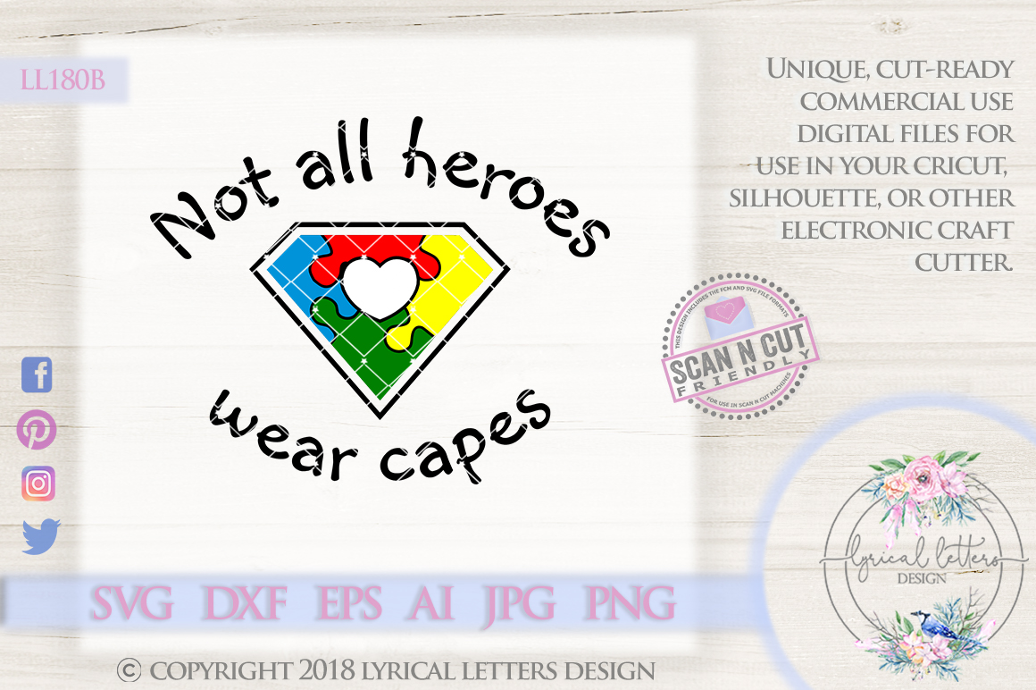Autism Awareness Not All Heroes Wear Capes LL180B  SVG DXF FCM EPS AI JPG PNG example image 1