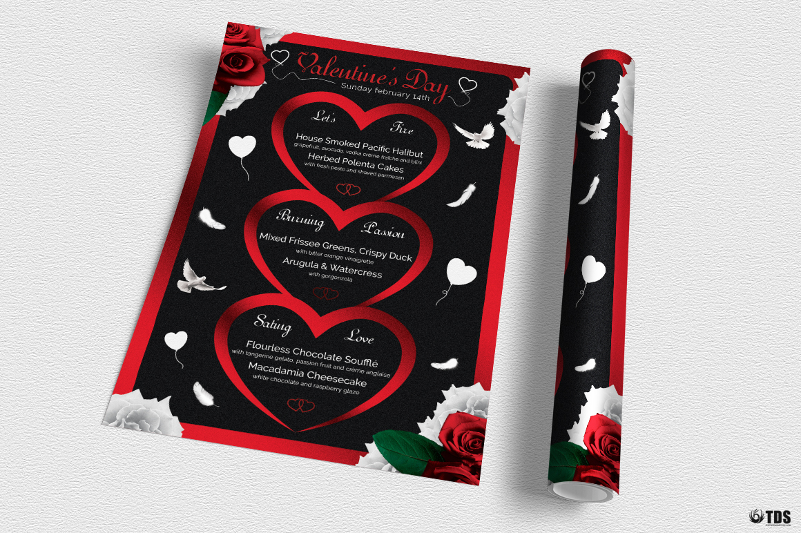 Valentines Day Menu Template V4 example image 3