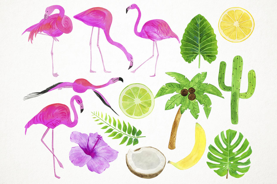 Watercolor Flamingo Clipart, Flamingo Clip Art, Flamingo PNG example image 2