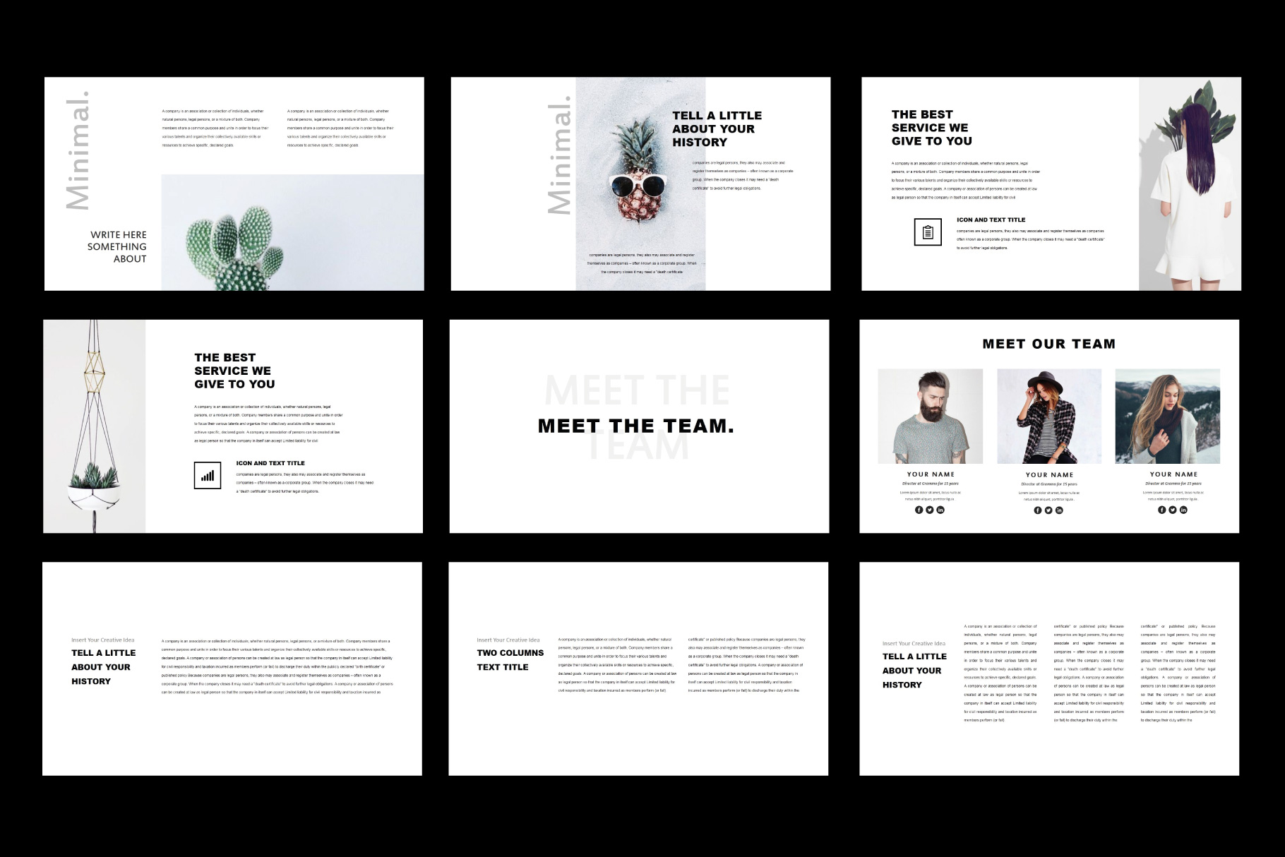 Tuxedo Minimal PowerPoint Templates example image 3