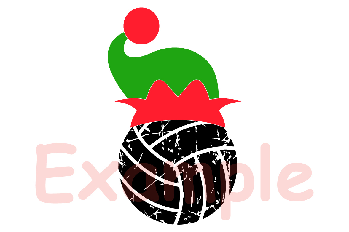 Volleyball Christmas Hat svg Elf sweater svg Elf 1047s example image 3