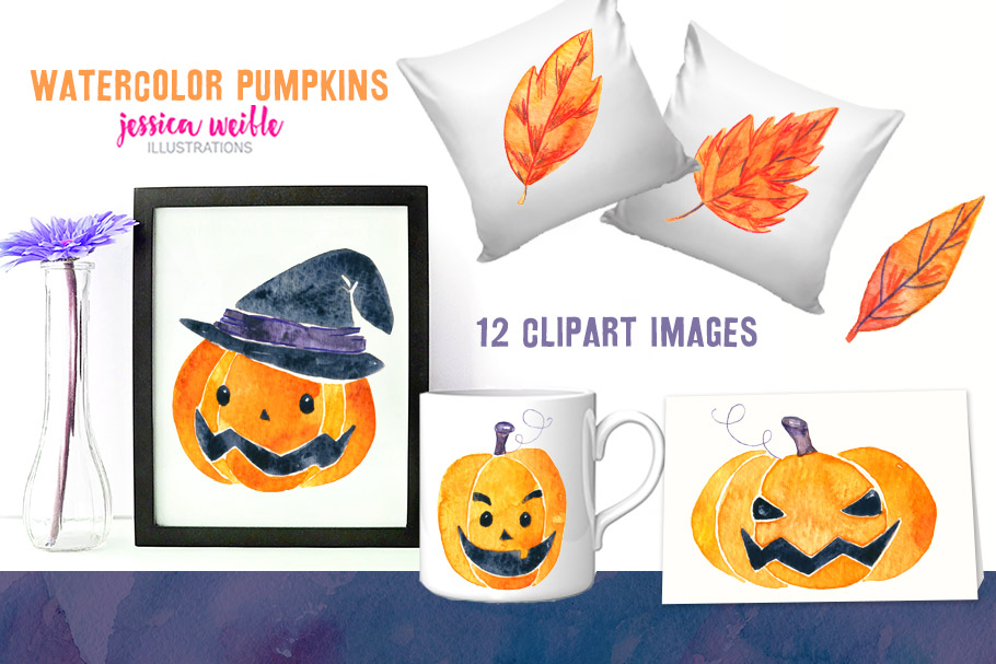 Watercolor Halloween Pumpkins & Leaves example image 2