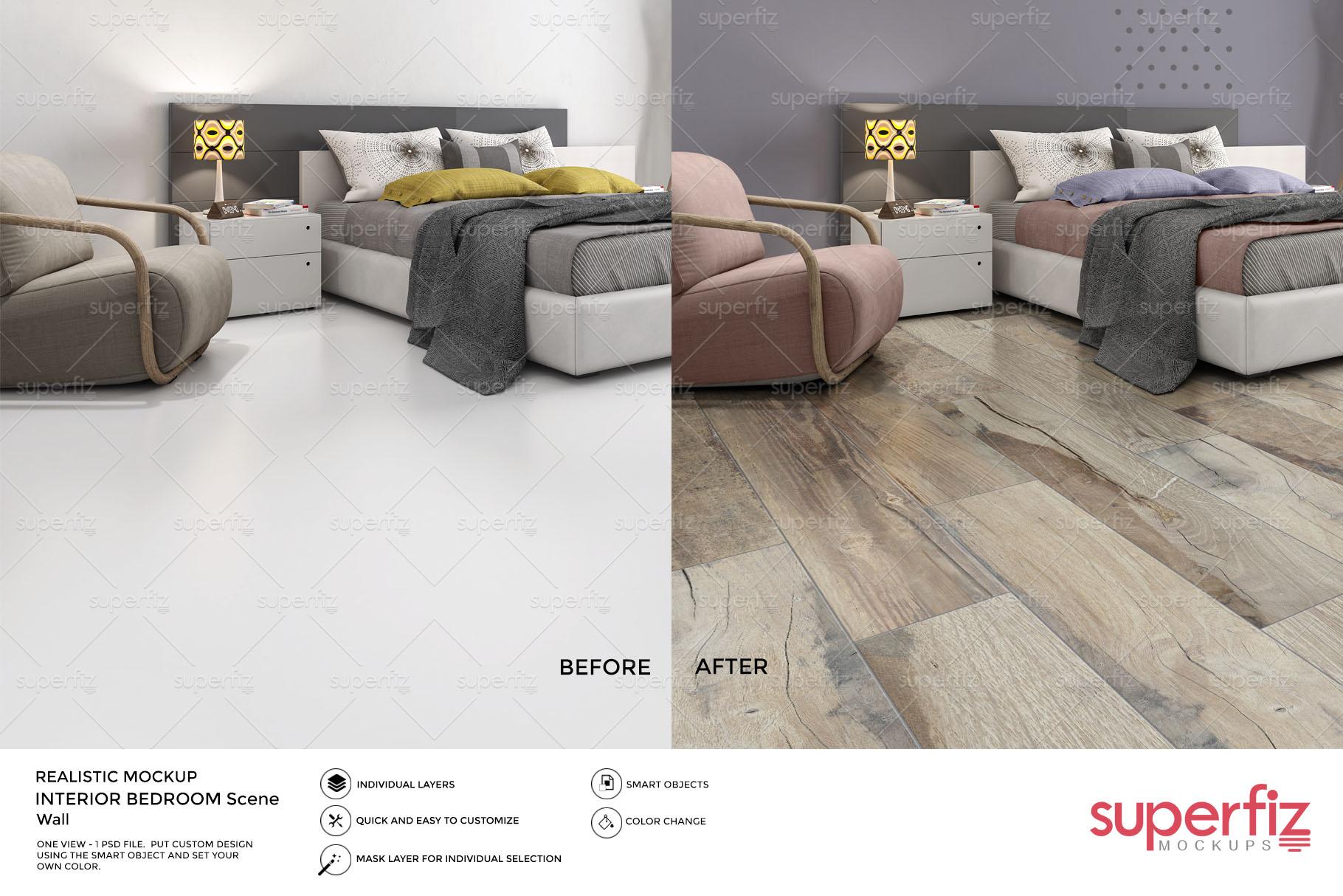 Blank Floor PSD Mockup Bedroom SM84 example image 2