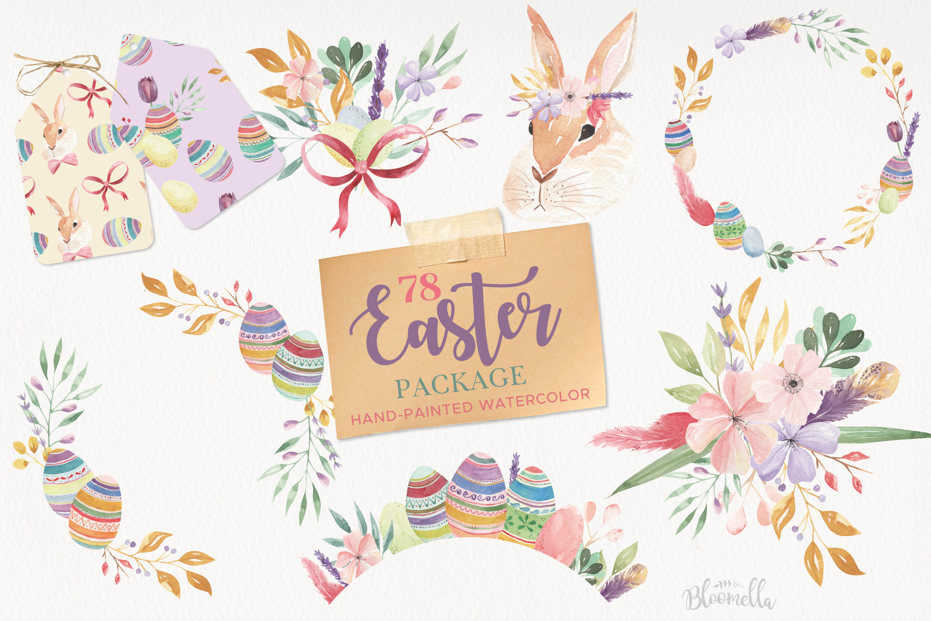 Easter Egg HUGE Bunny Watercolor Floral Spring Clipart Kit example image 1