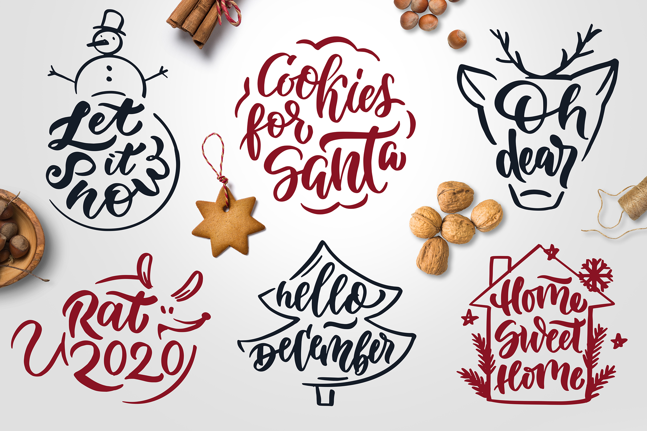 Christmas time lettering pack example image 3