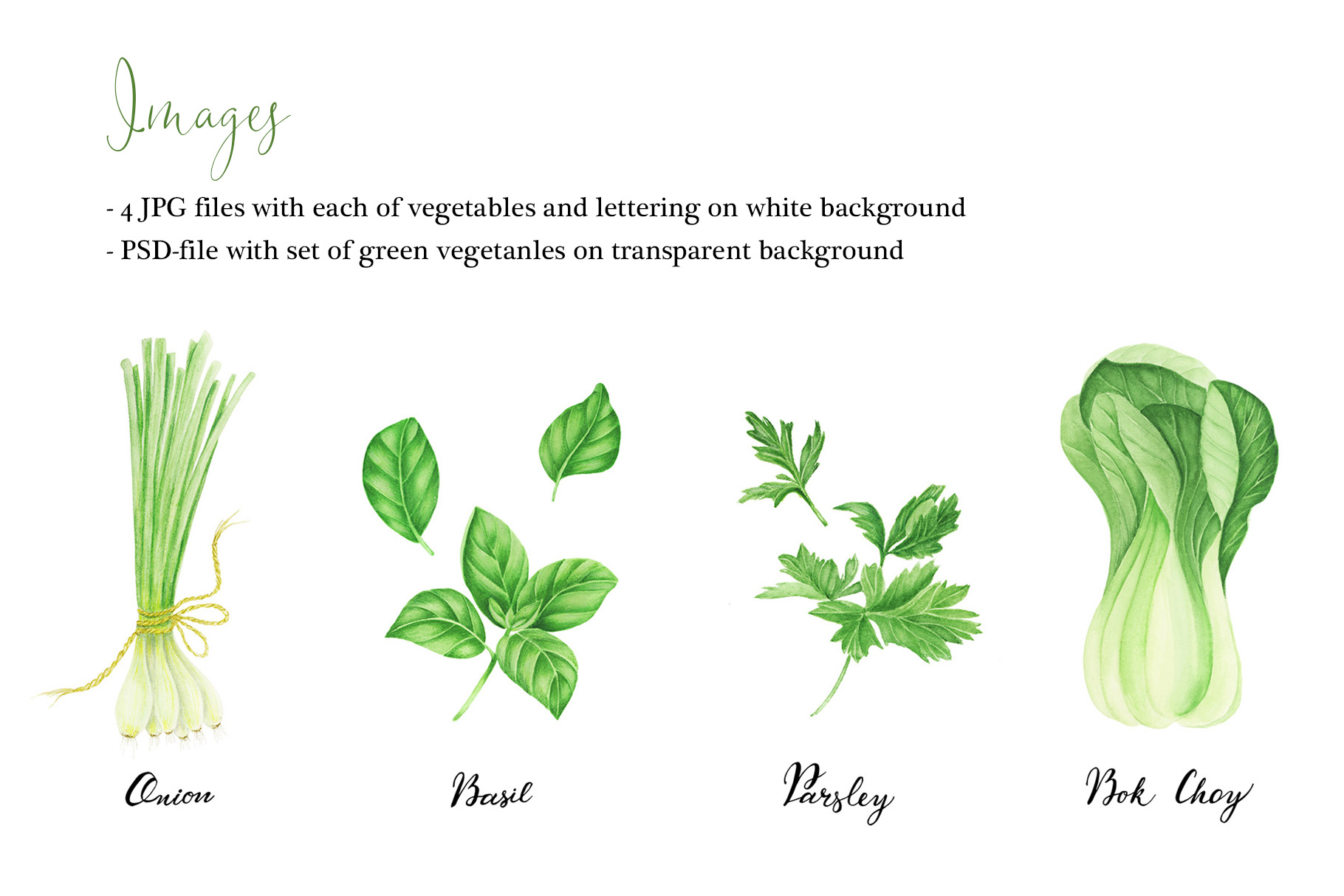 Watercolor green vegetables clipart example image 2
