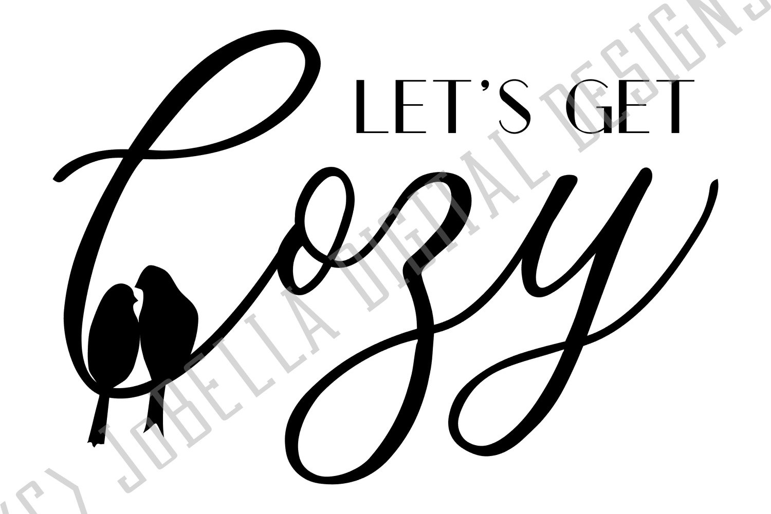Let's Get Cozy SVG and Printable Lovebirds Design example image 2