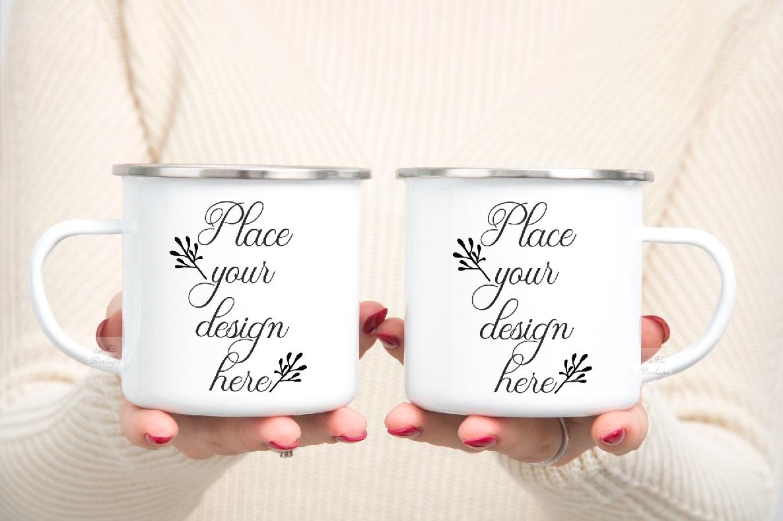mug mockup woman two 2 enamel mugs camp PSD Camping mock up example image 1