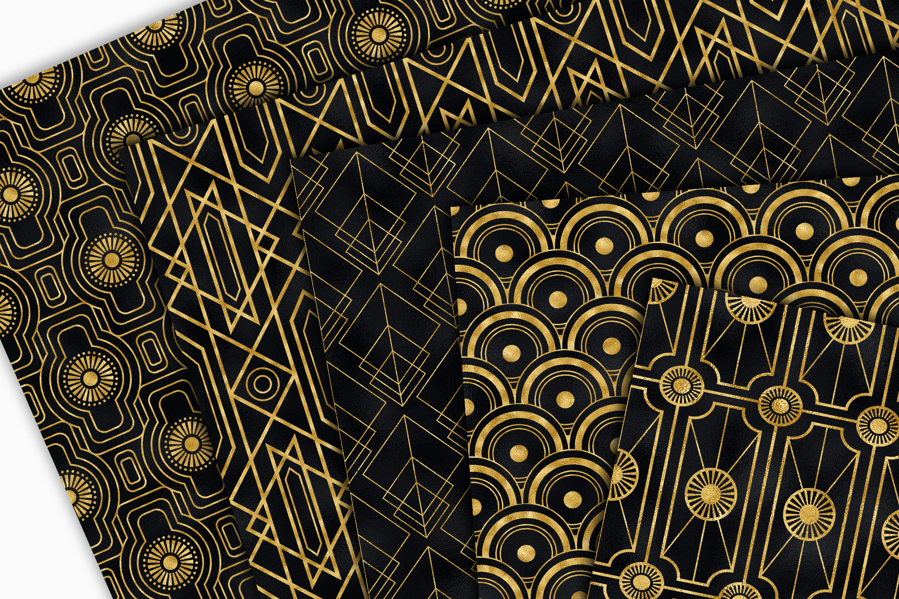 Seamless Art Deco Patterns - Black and Gold Digital Papers example image 9