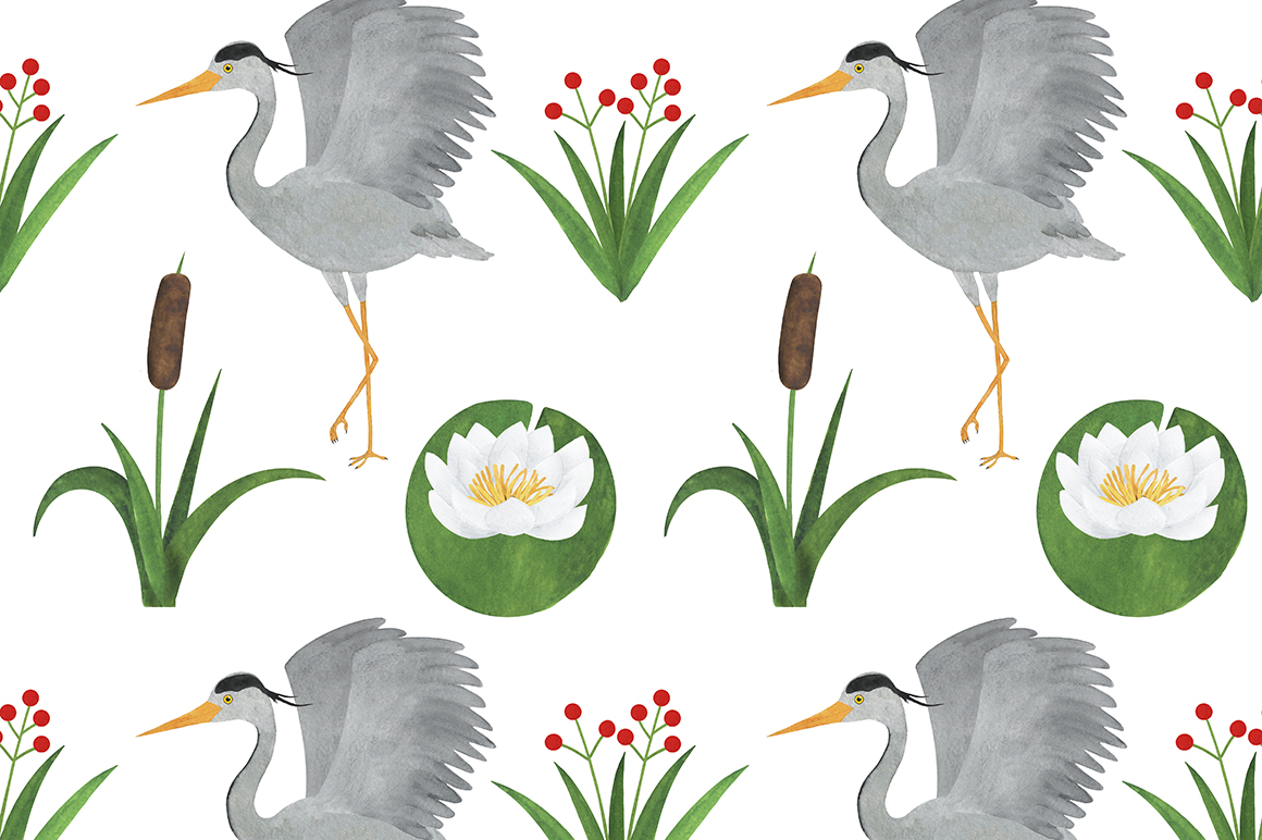 Set of heron watercolor illustrations example image 13
