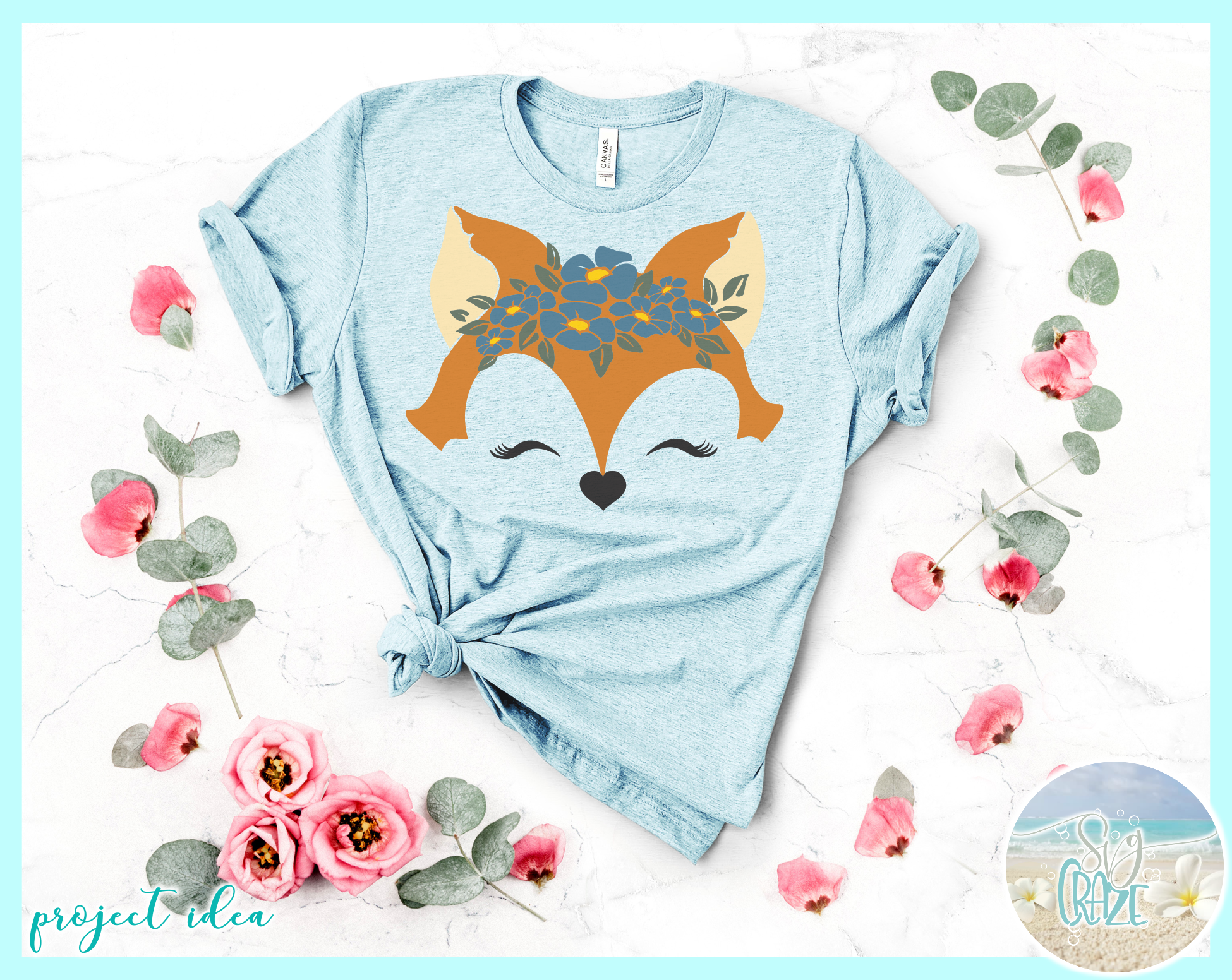 Fox Face With Flowers Svg Dxf Eps Png Svg Files example image 3
