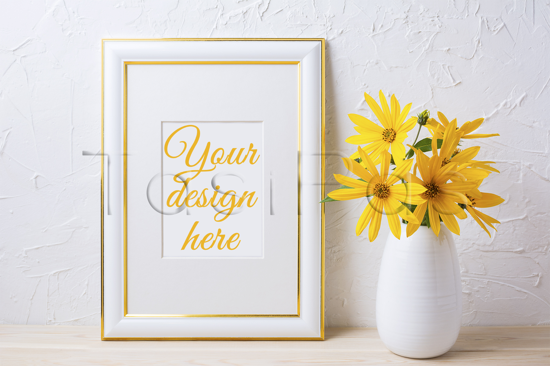 Gold decorated frame mockup with yellow rosinweed flowers example image 1