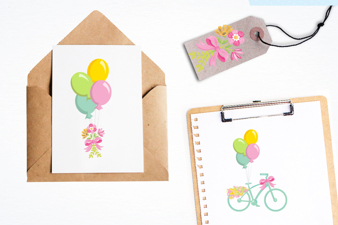 Floral Bicycles graphics and illustrations example image 4