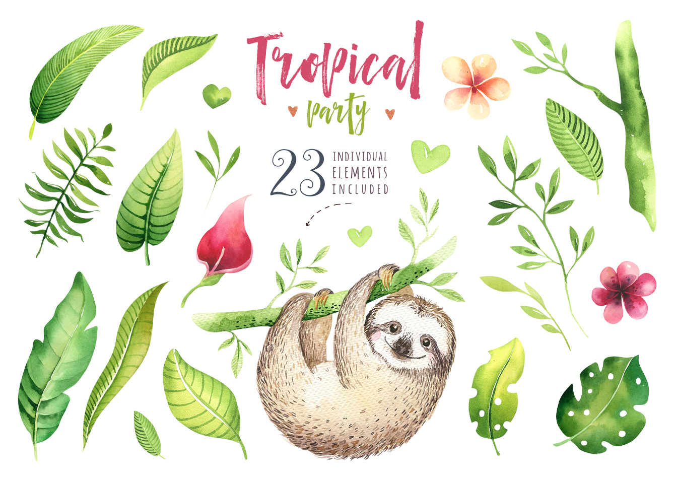 Tropical party III.Sloth collection example image 8