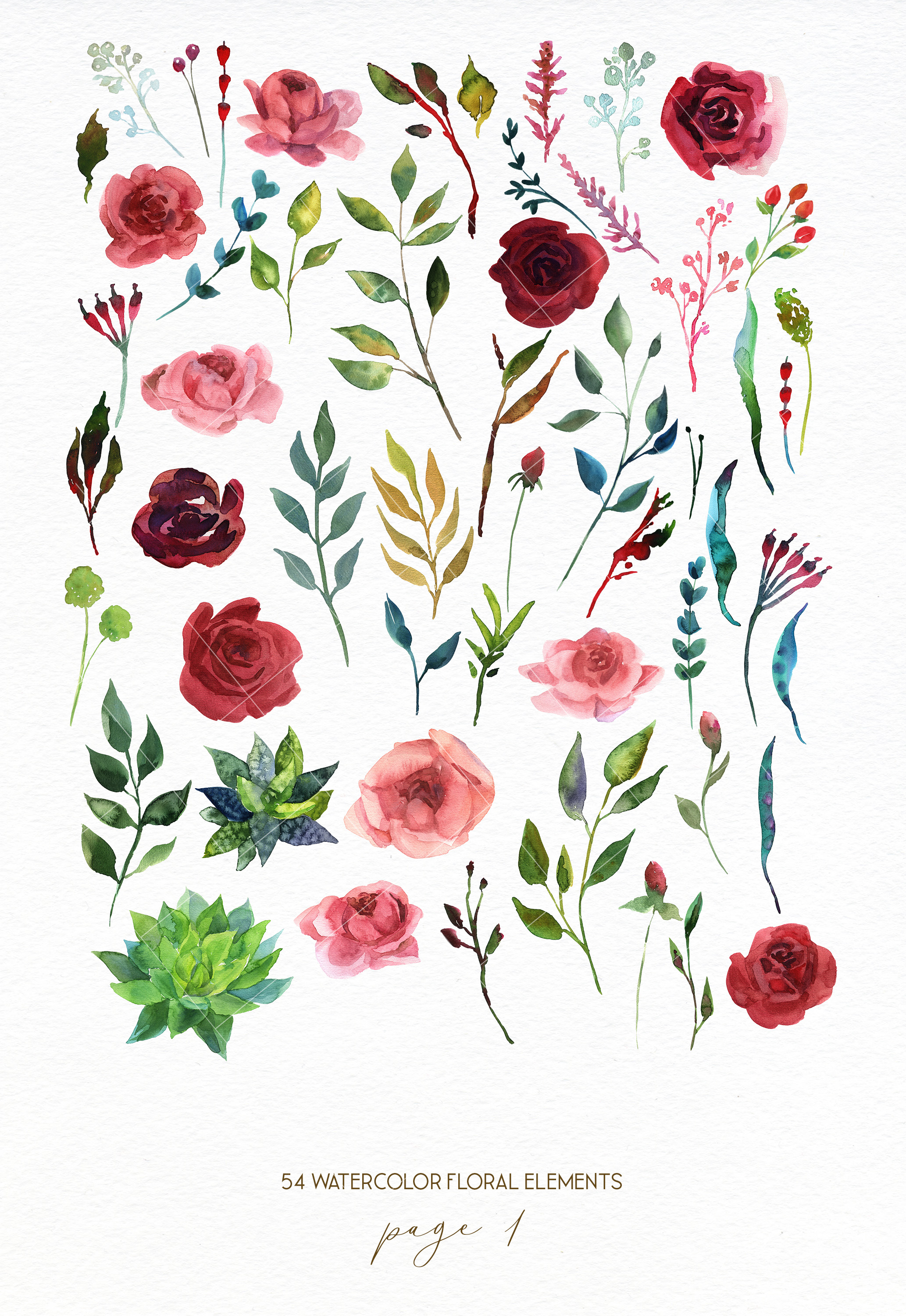 Watercolor red rose flowers wedding clipart, boho pink peony example image 2