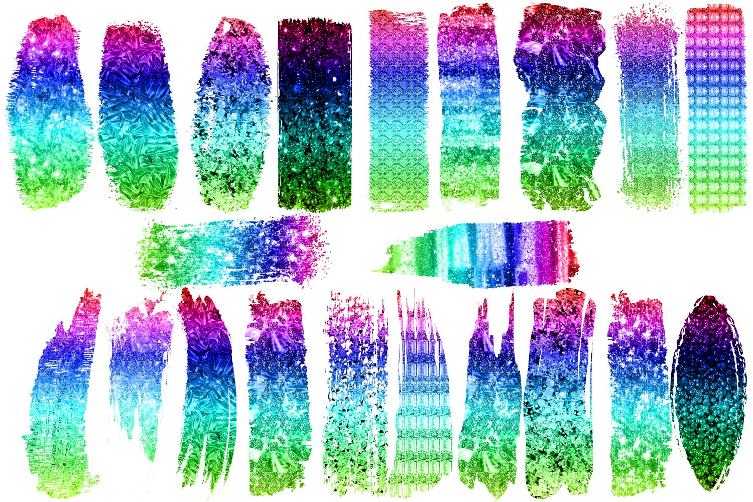 Ombre Rainbow Brush Strokes Clipart example image 2