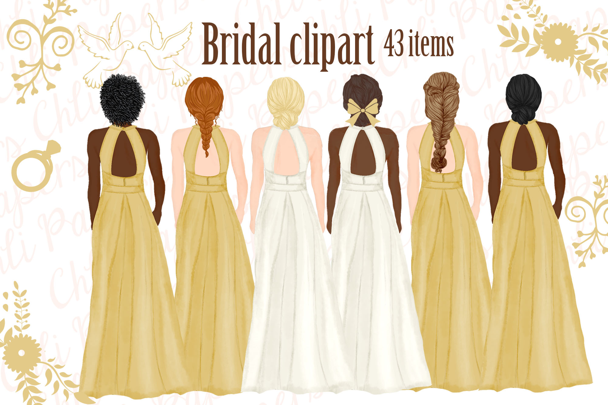 Bride and Bridesmaids clipart,Wedding clipart,Bridal clipart example image 1