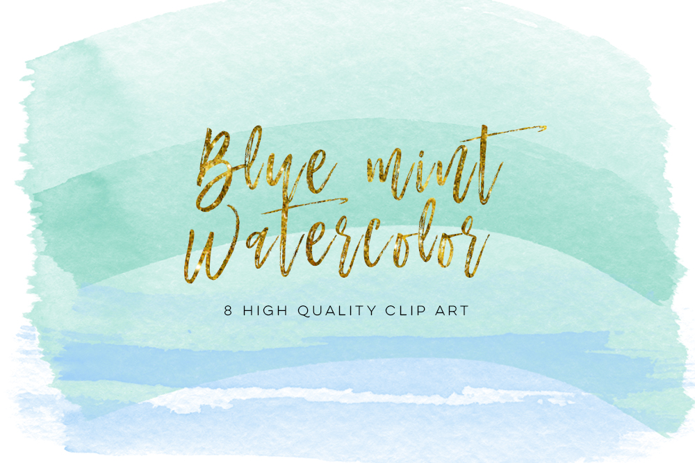 blue mint brush strokes, Blue Green Watercolor Circles, Blue & Green Watercolor and Shimmer Circles, ombre brush strokes,  DIY Clipart example image 1