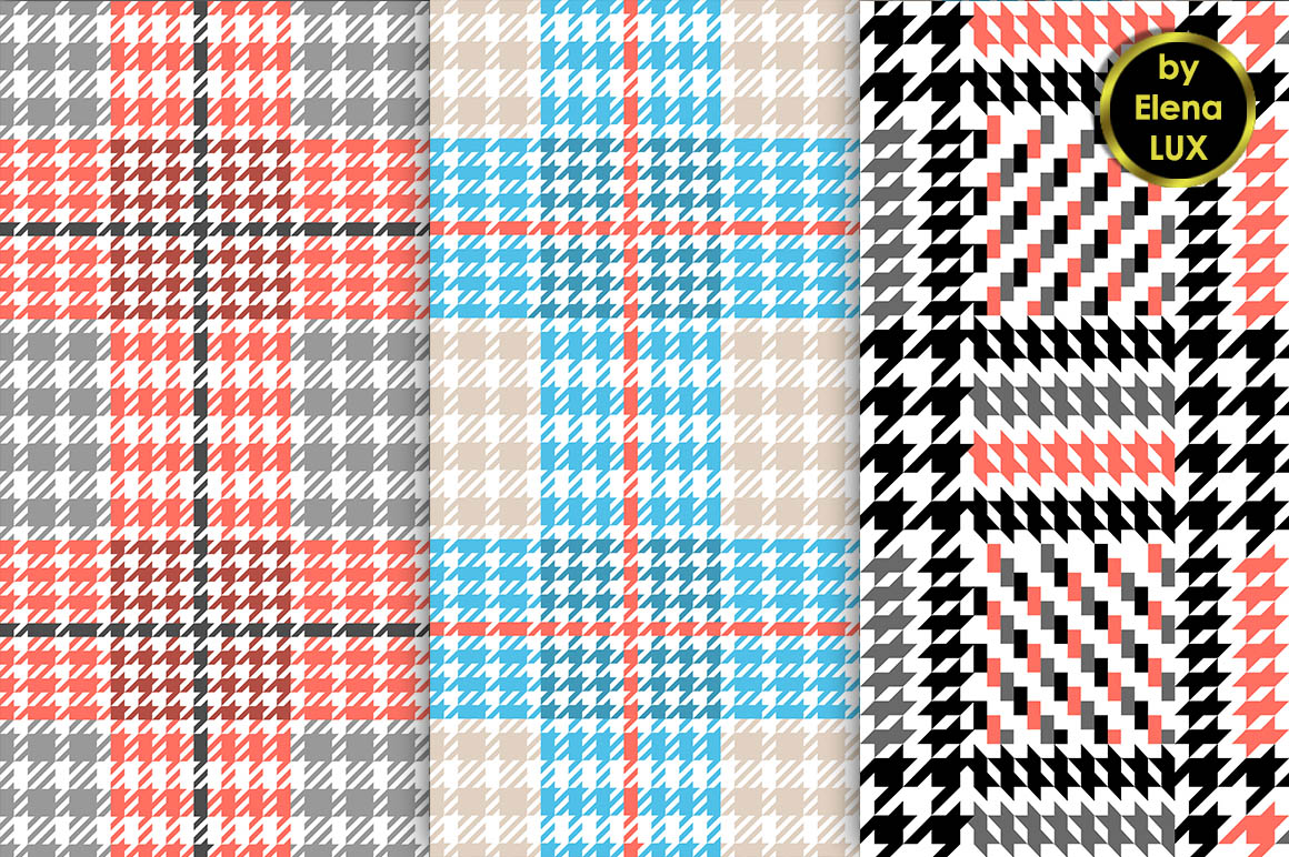 Houndstooth Seamless Pattern Set example image 2