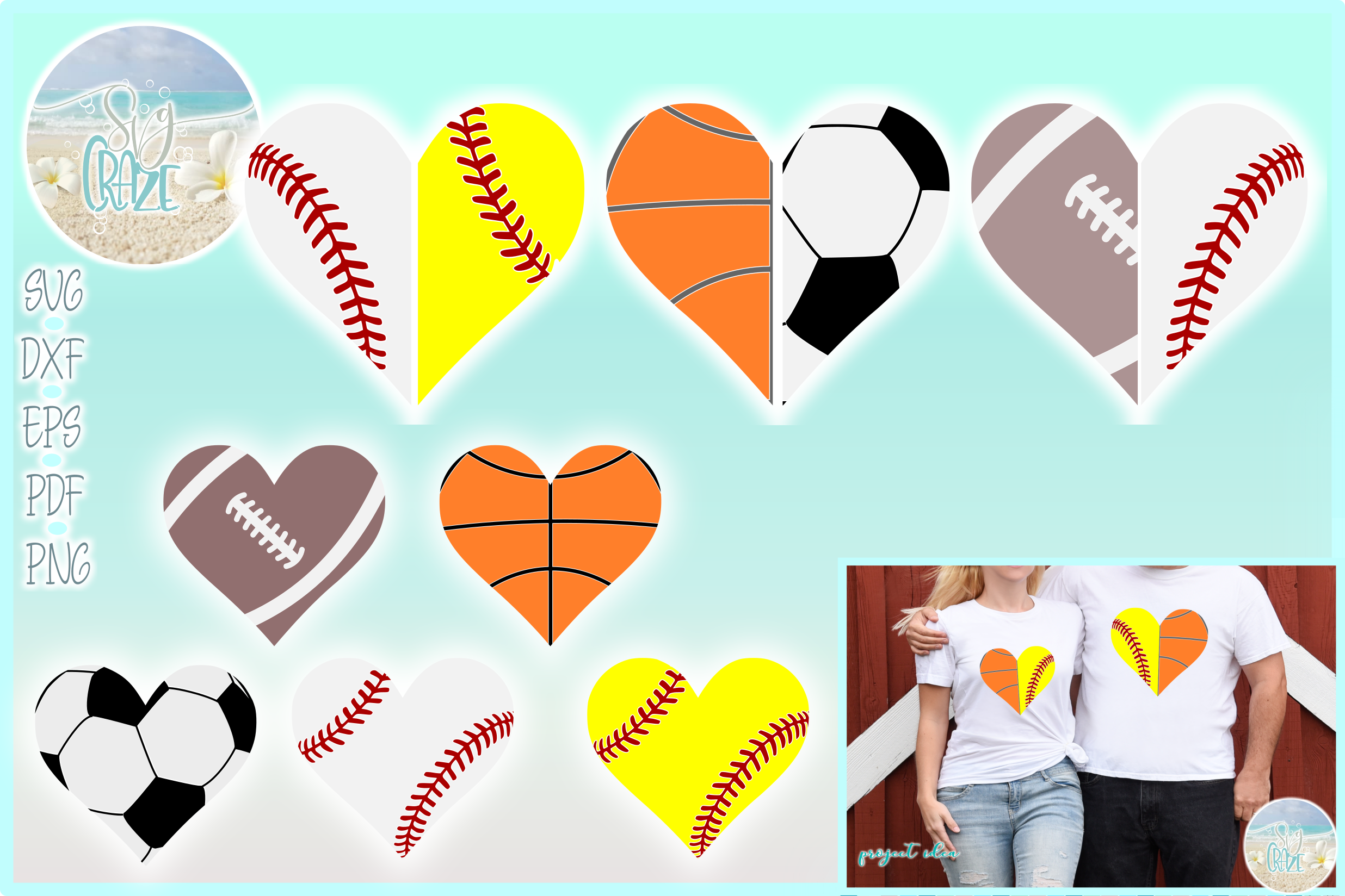 Proud Sports Mom Dad Half Heart Bundle SVG Dxf Eps Png PDF example image 1