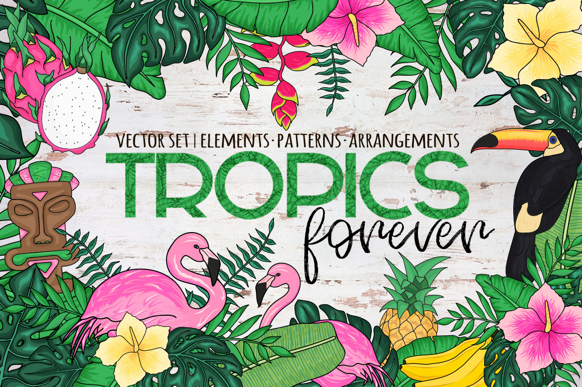 Tropics forever! Vector set example image 1
