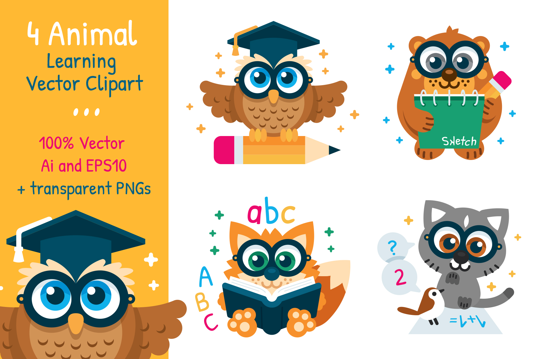 4 Animal Learning Vector Clipart example image 1