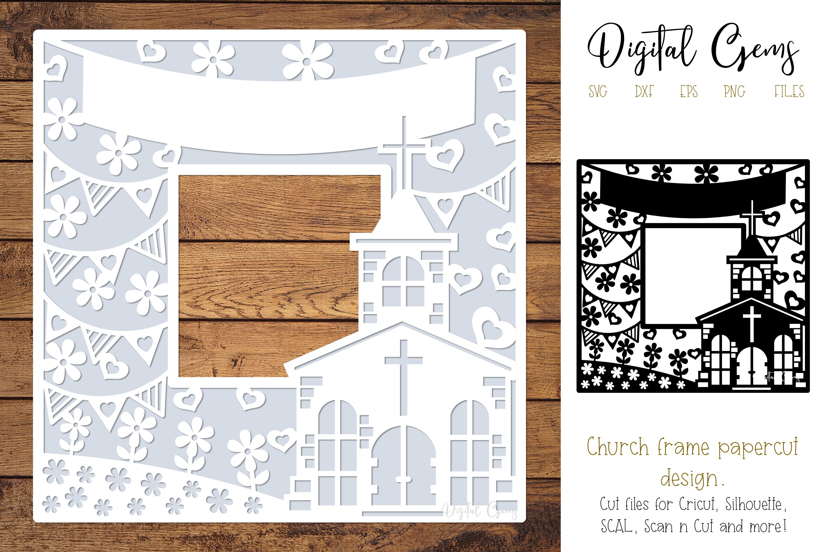 Church frame paper cut design SVG / DXF / EPS / PNG files example image 1