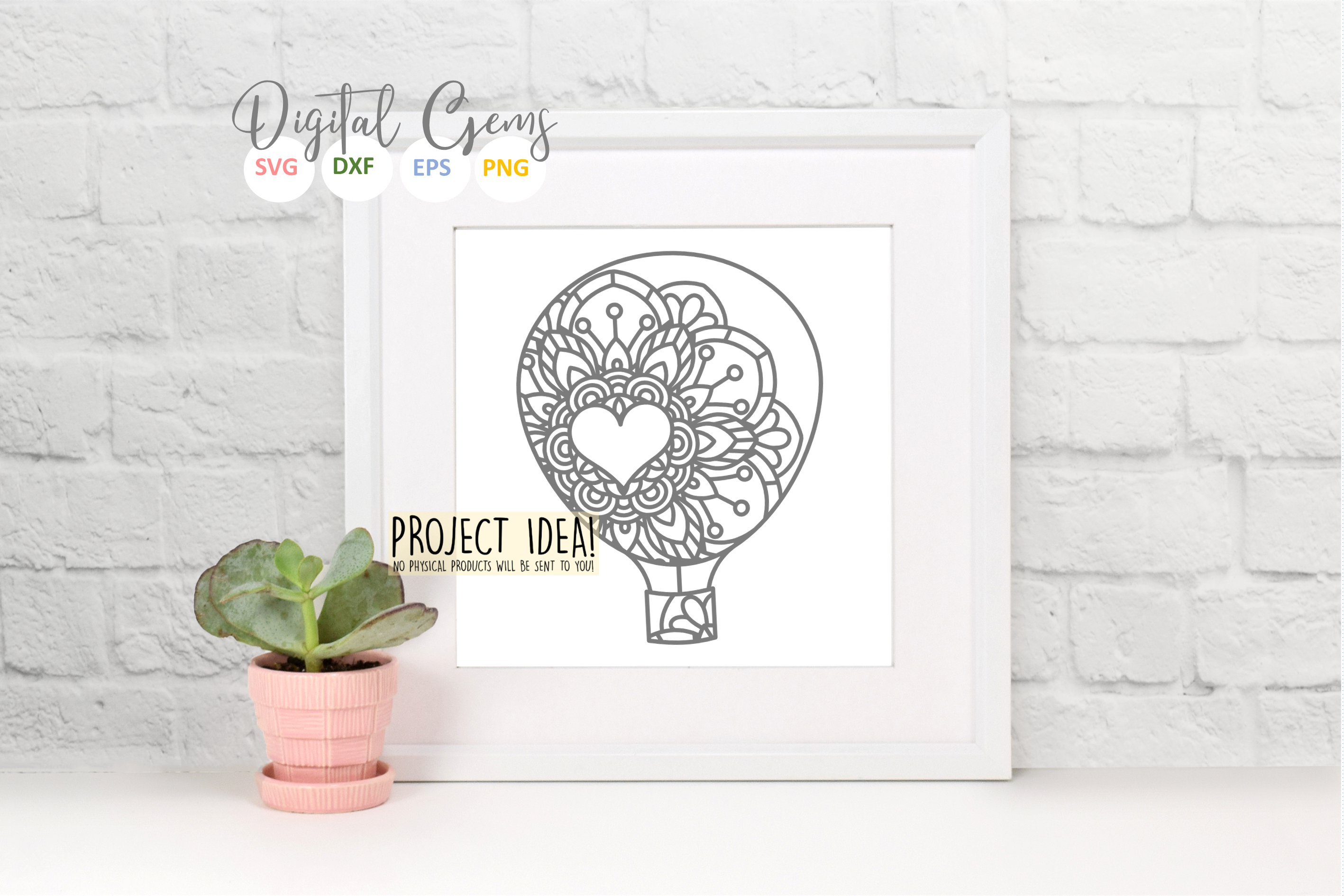 Hot air balloon paper cut design SVG / DXF / EPS / PNG files example image 7