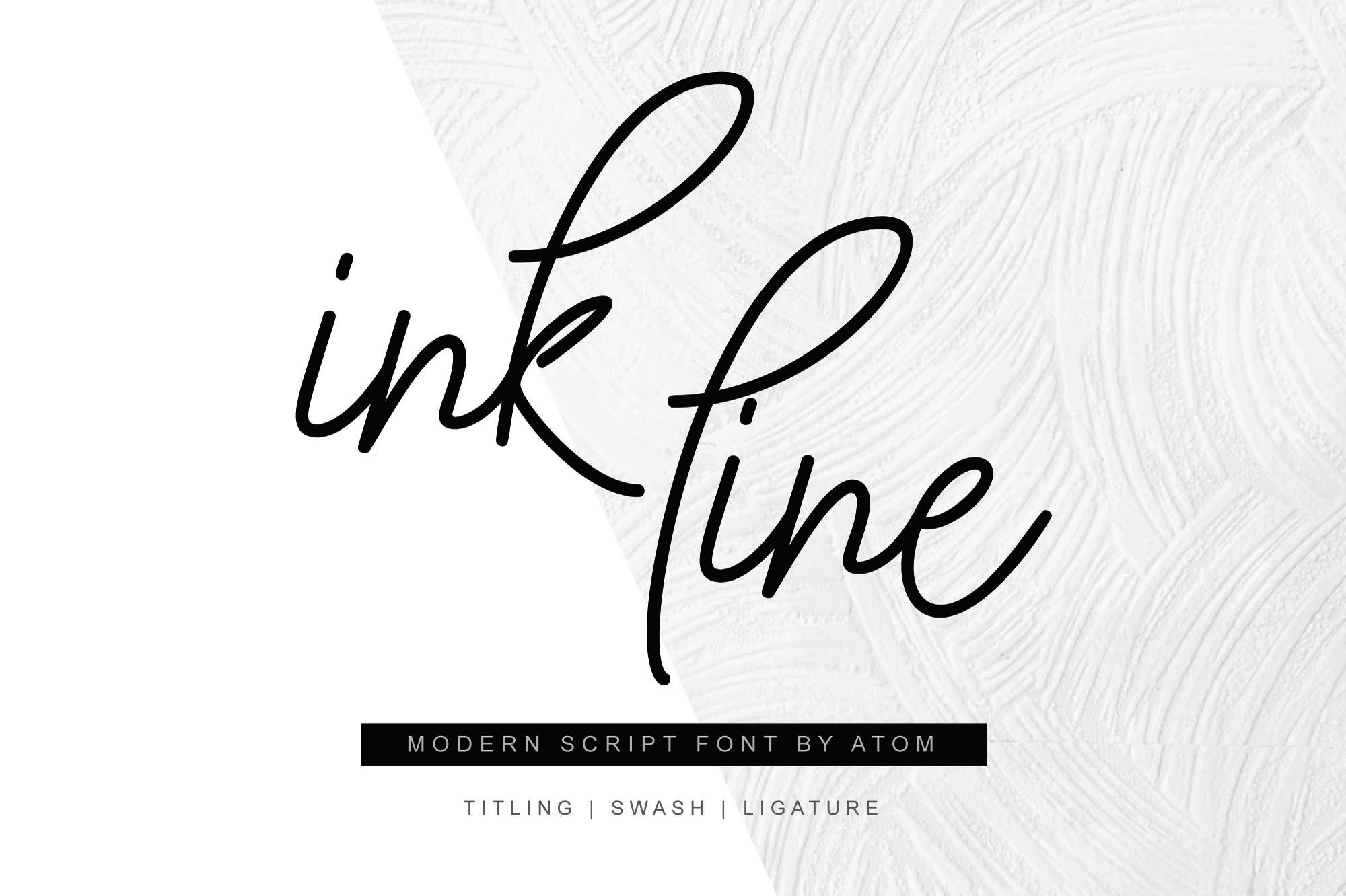 Ink Line   Modern Script Font example image 1