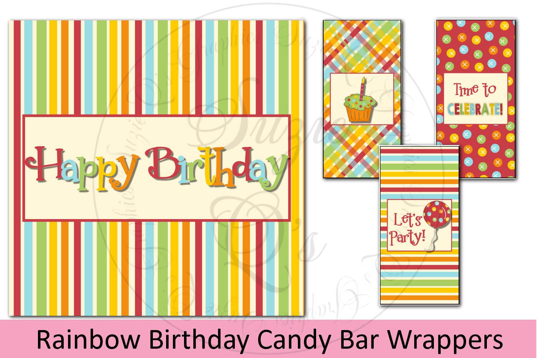 Rainbow Birthday Candy Bar Wrapper Set example image 1