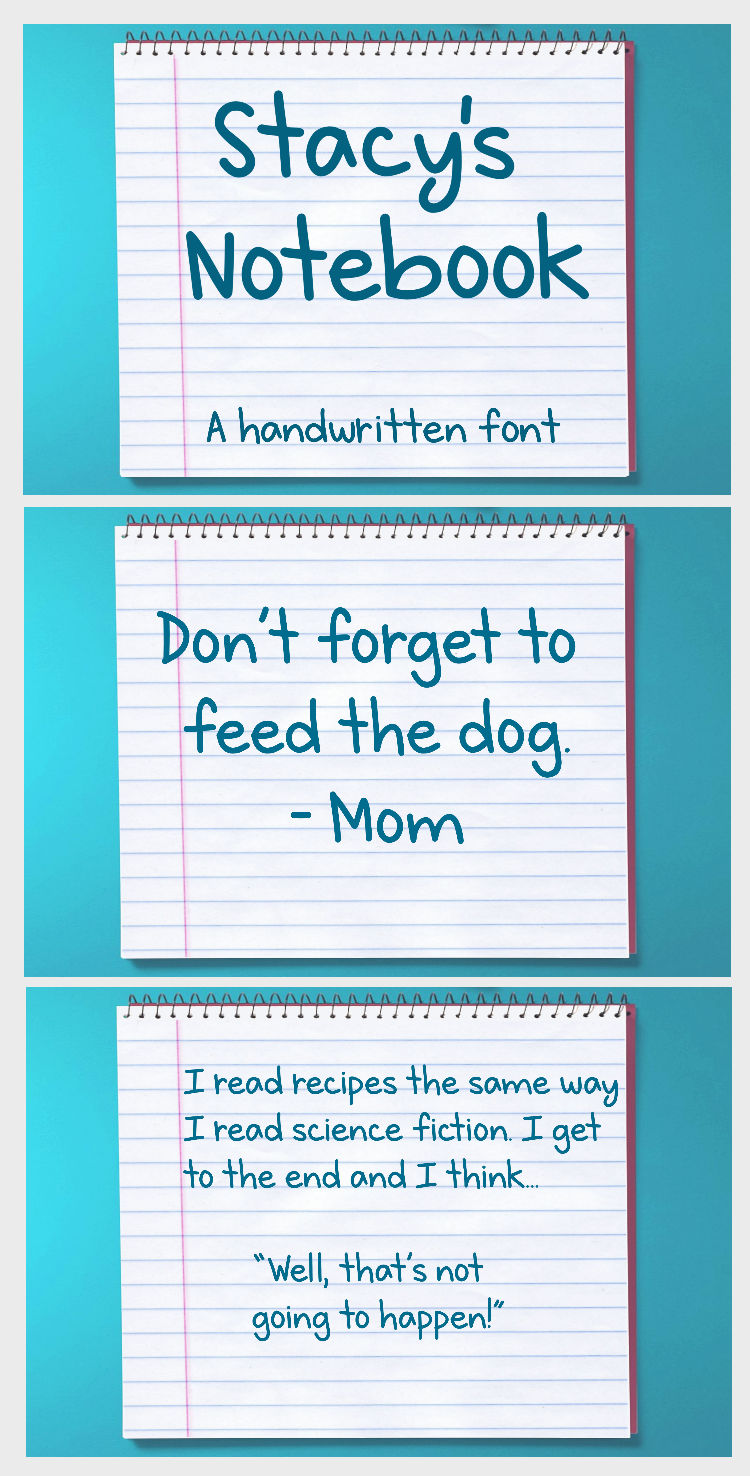 Stacy's Notebook - A handwritten font example image 7