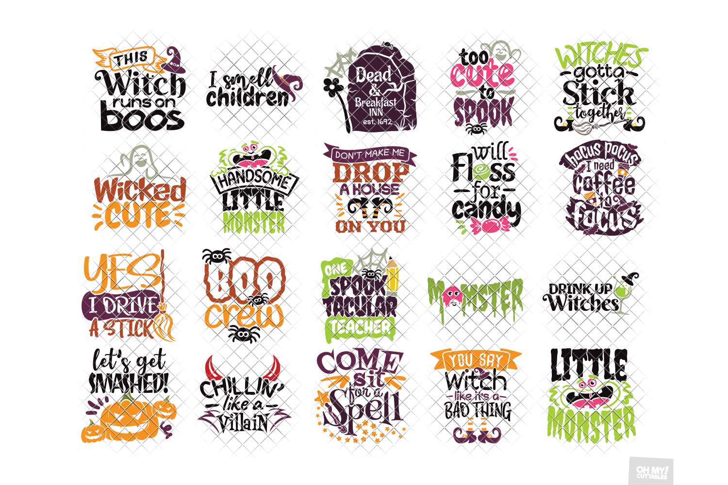Halloween SVG Quotes & Phrases Bundle in SVG, DXF, PNG, EPS example image 5