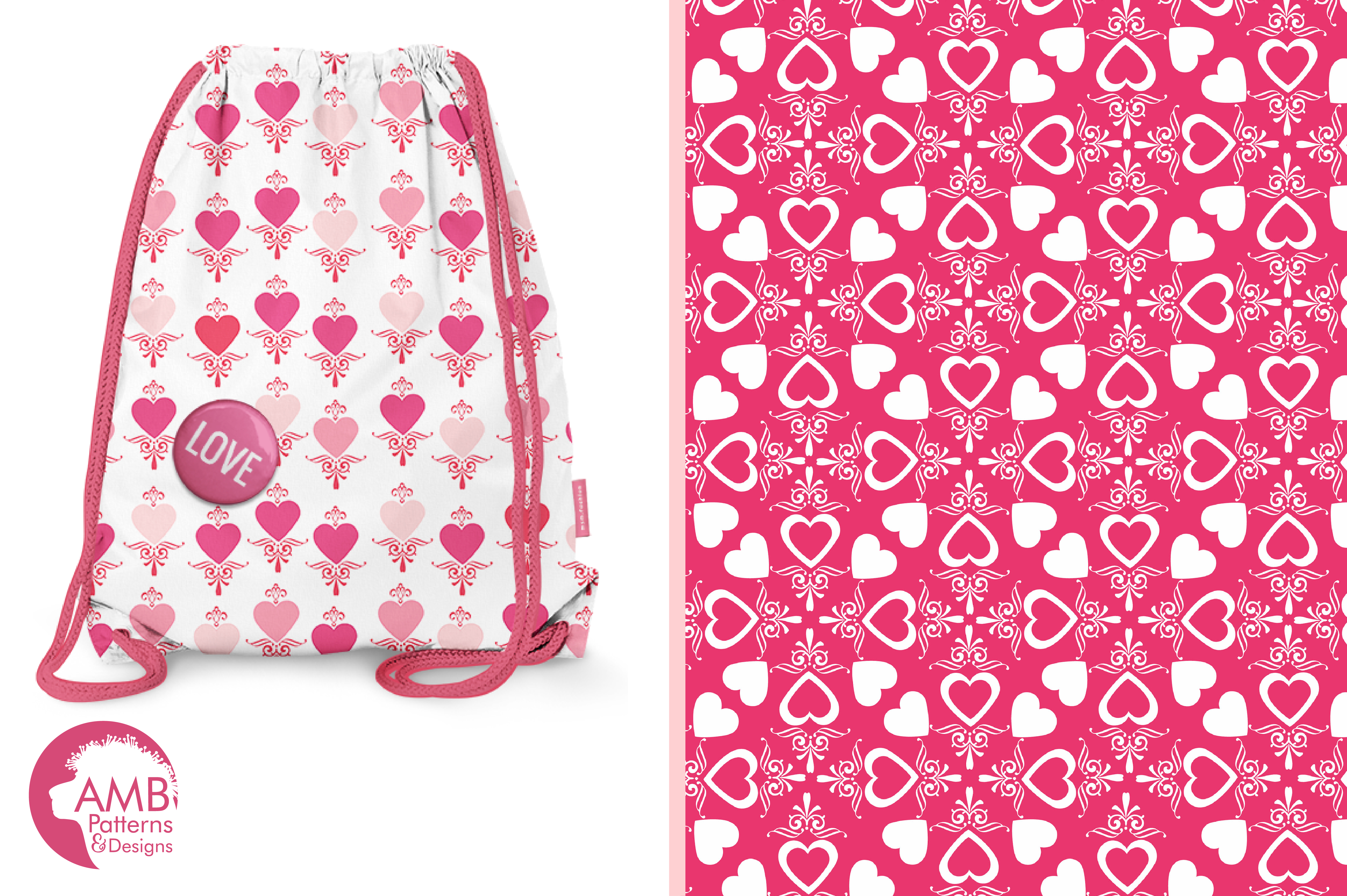 Be my Valentine pattern, papers, surface design AMB-1166 example image 3
