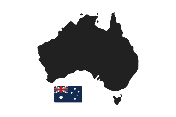 Australia map with flag example image 1