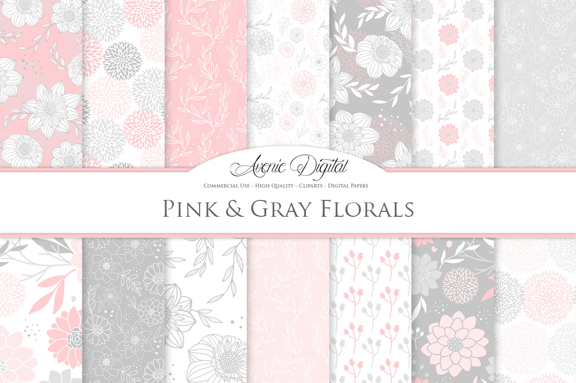 Pink And Gray Floral Vector Patterns Light Pink Flower Seamless