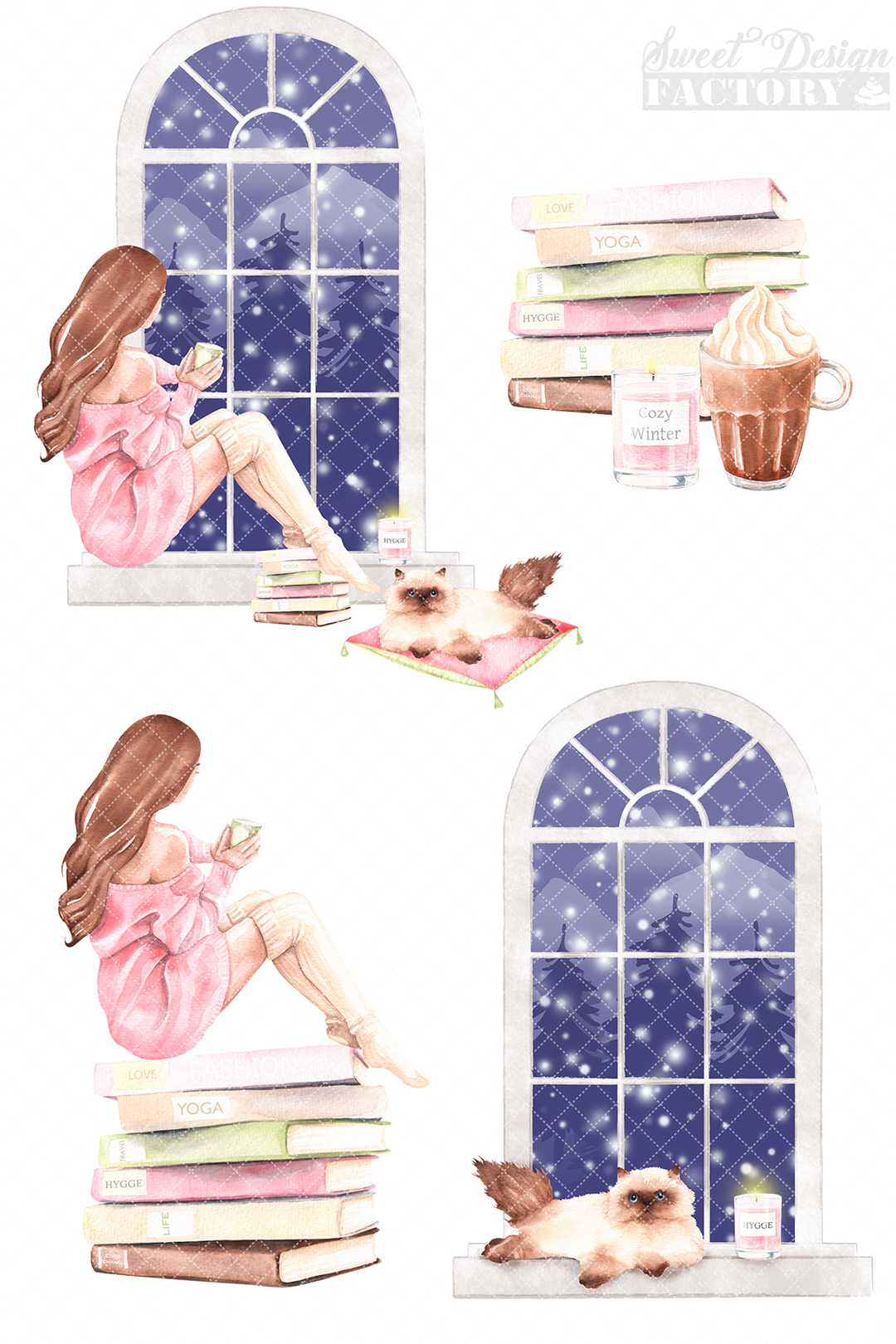 Cozy winter clipart. example image 4