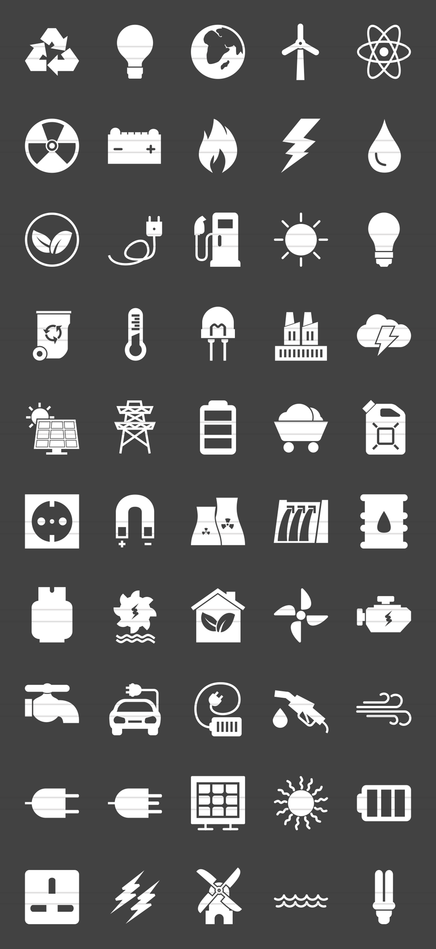 50 Energy Glyph Inverted Icons example image 2