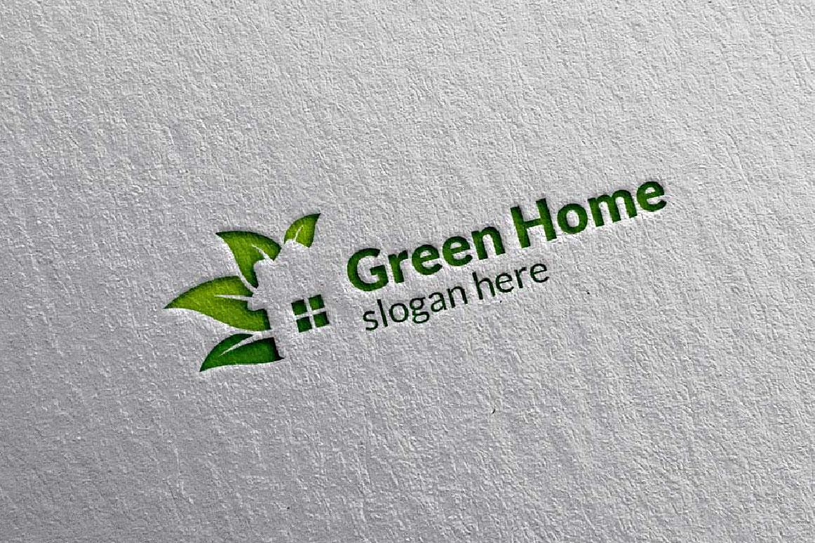 Real estate Logo, Green Home Logo 5 example image 5