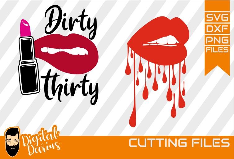 2x Lips svg, Lipstick svg, Dripping Lips svg, Vector, Cricut example image 1