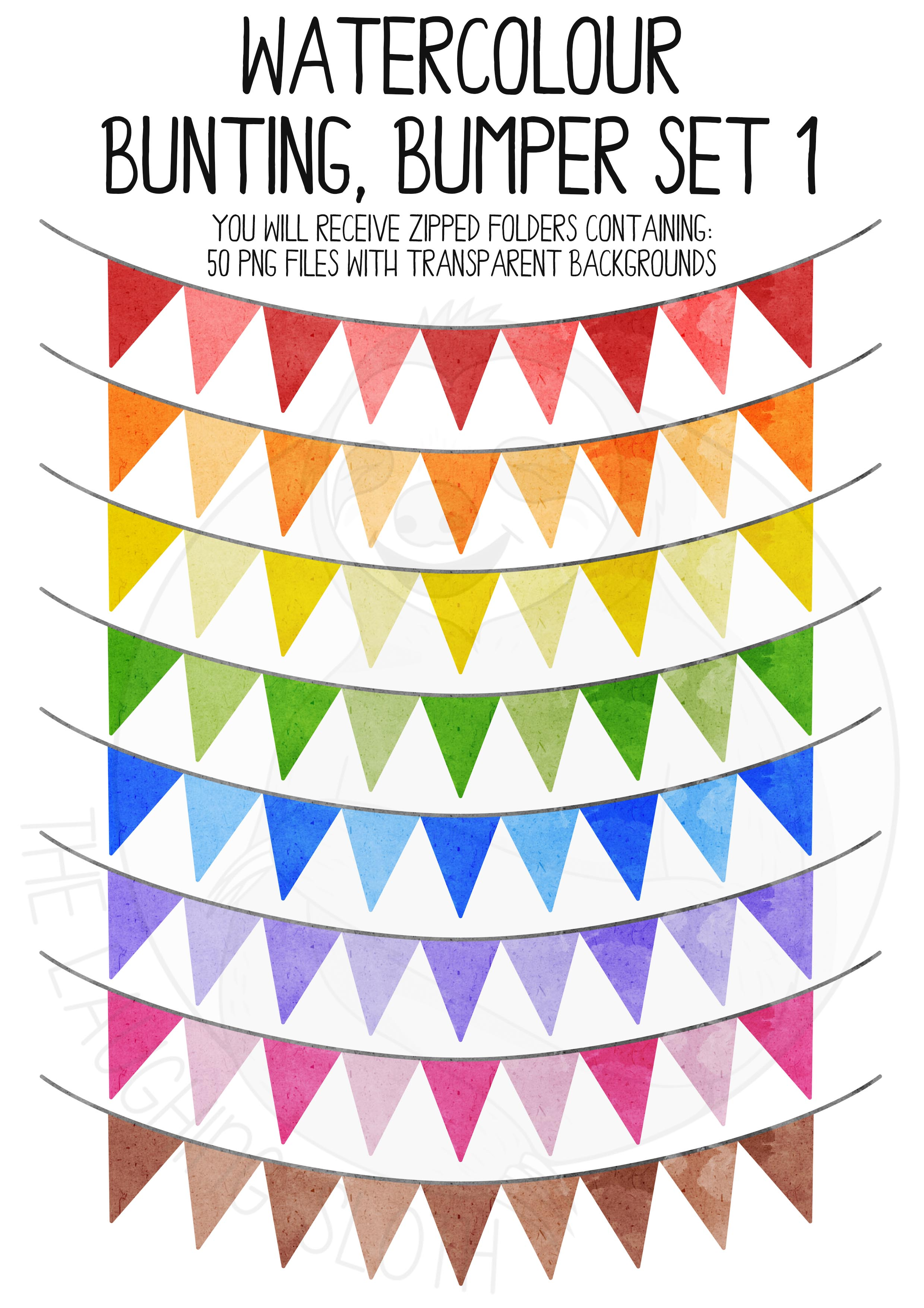 Watercolor Bunting Bumper Clipart Set example image 2