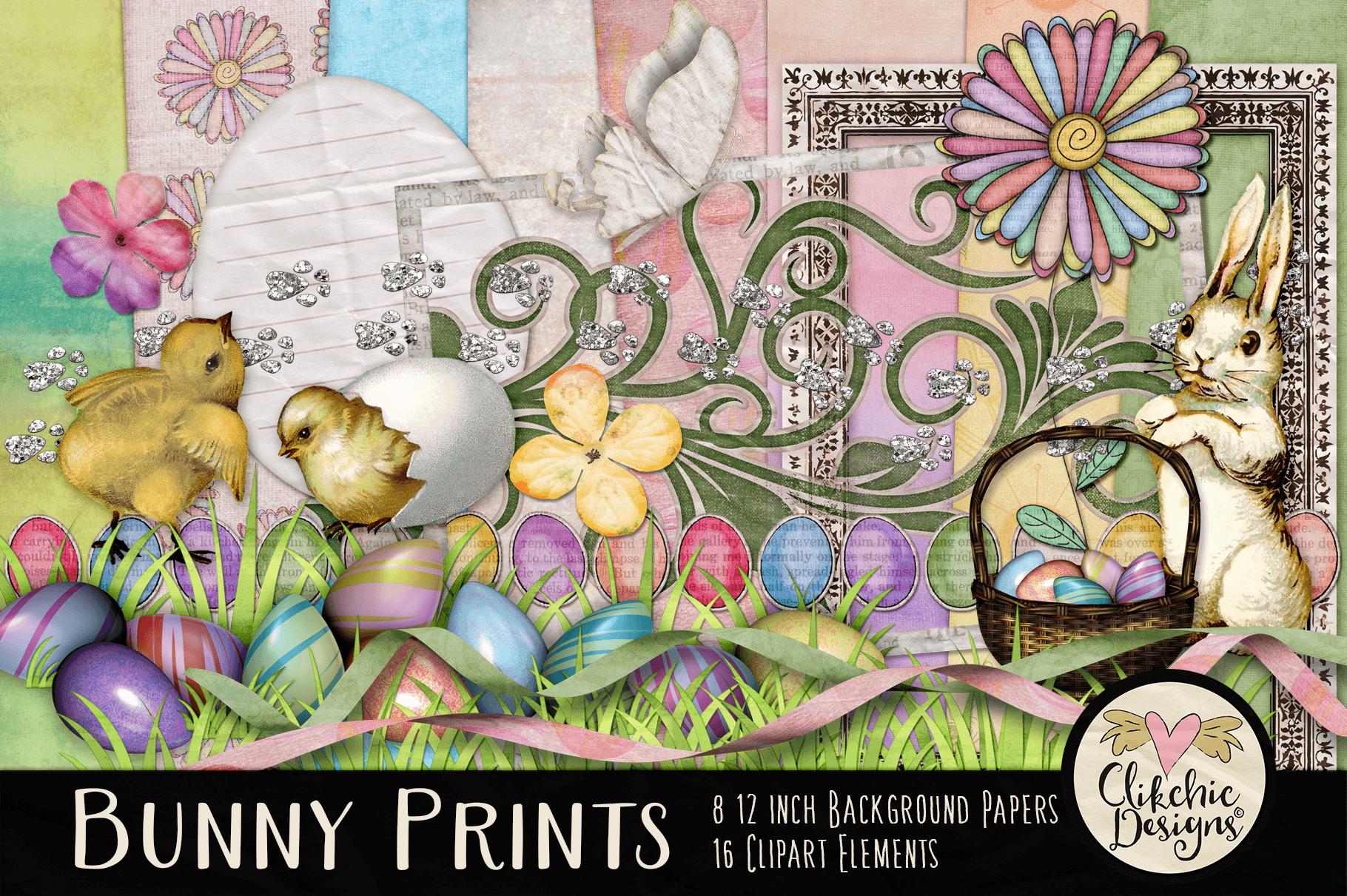 Easter Digital Scrapbook Kit - Bunny Prints Spring Clipart example image 1