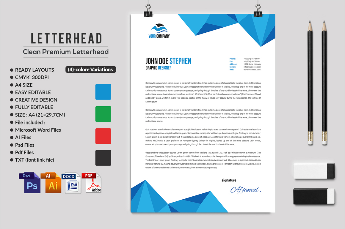 12 Clean Rsume Invoice and Letterhead Bundle example image 14