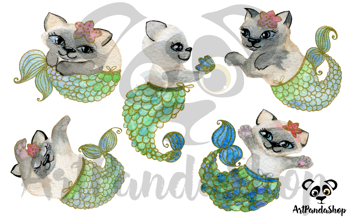Cat fish cute mermaid watercolor cat print nursery printable example image 5