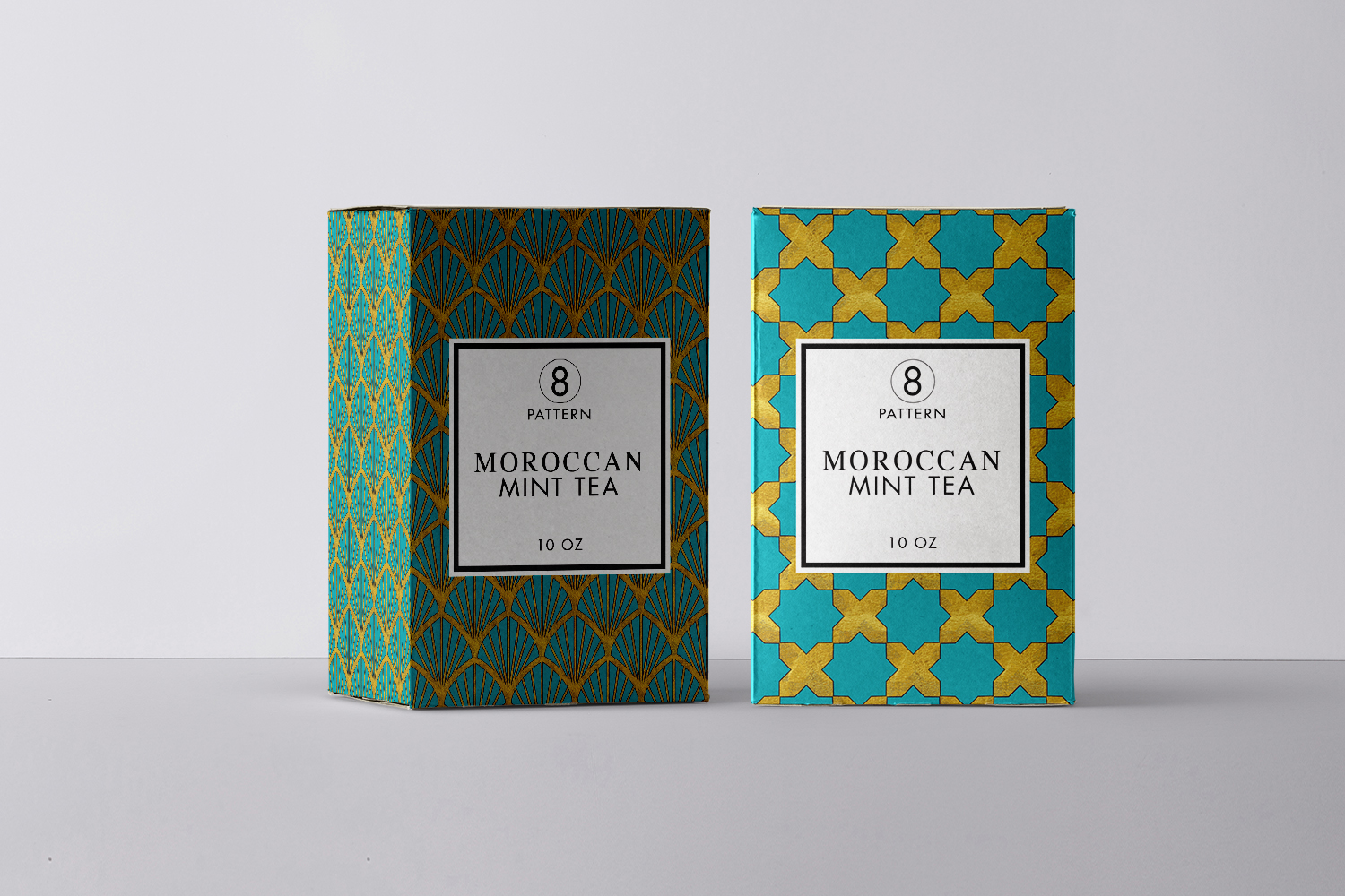 8 Seamless Moroccan Patterns - Gold & Turquoise example image 3