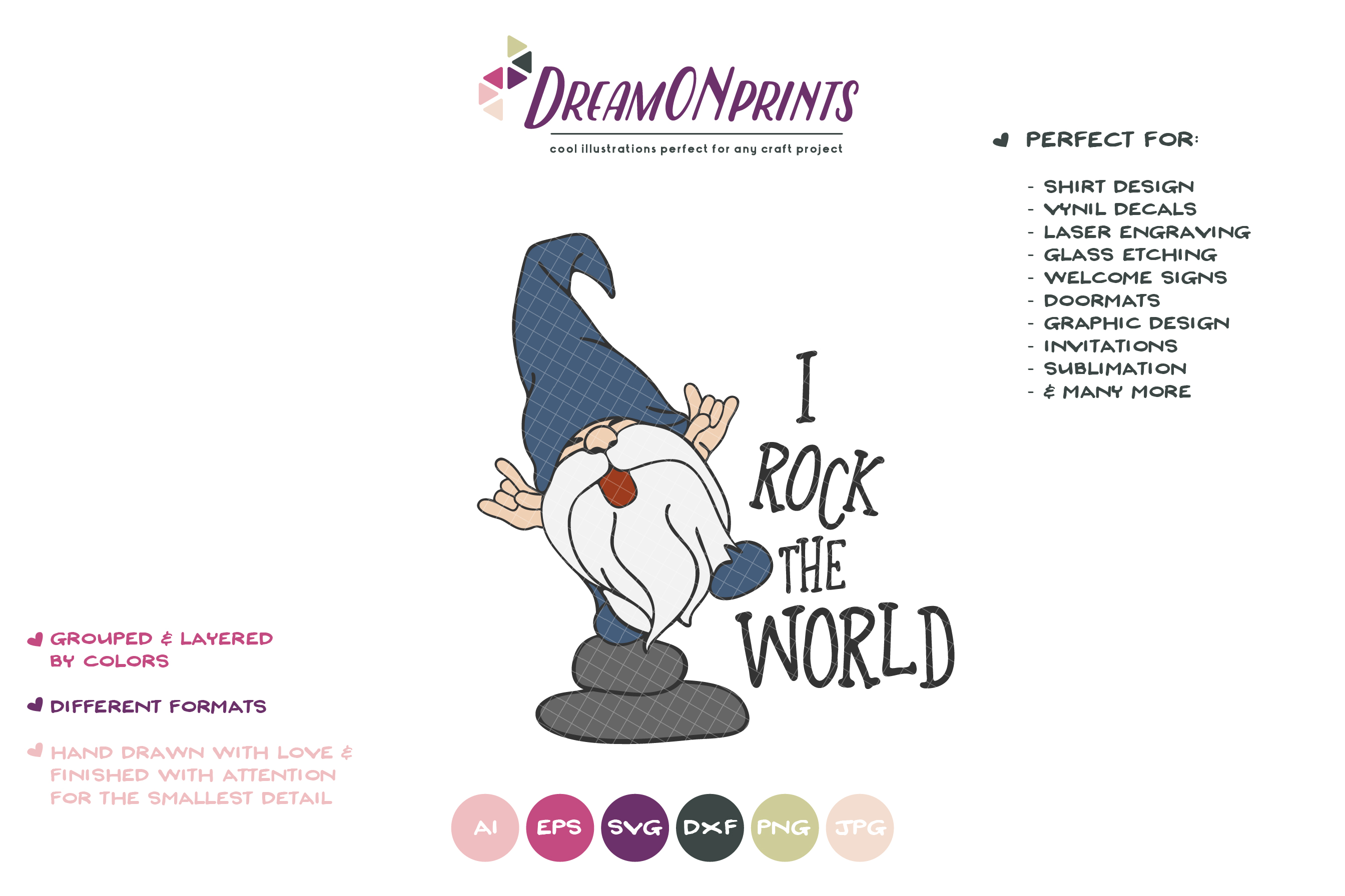 Rock the World | Funny Gnome SVG Cut Files | Kids SVG example image 2